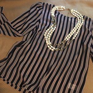Tunic Blouse Semi-sheer Stripe NWOT sz M